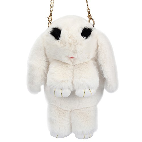 Rabbit Bag - Evaliana Bunny Faux Rabbit Fur Crossbody Handbag Shoulder Bag