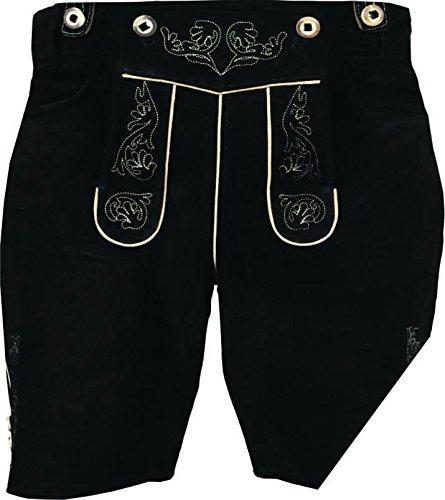 Bayerische Lederhose aus hochwertiges Veloursleder, mit Träger und Antikstick, Schwarz