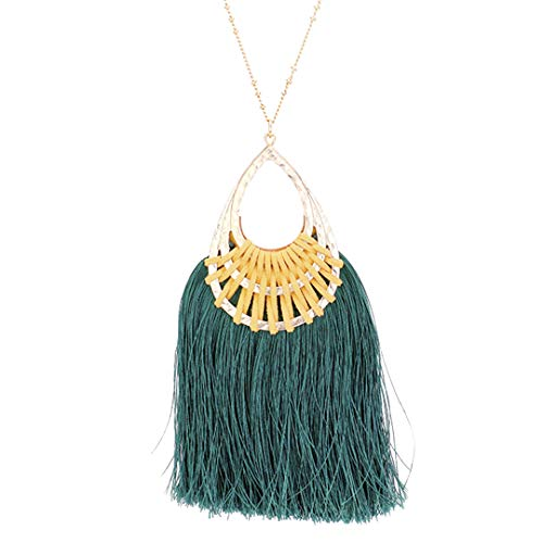 Kigmay Jewelry Fan Tassel Hammered Teardrop Hoop Pendant Necklace for Women, Perfect Valentines-Day Accessory (Teal) ()