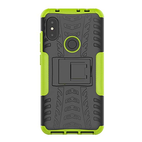 Imak Xiaomi Redmi Note 6 Pro Case + Tempered Glass Screen Guard, 2in1 TPU/PC Combo [Dual Layer] [Integrated Kickstand] Rugged Heavy Duty Hybrid Armor, Shockproof Durable Tough Defender Cover (Green)