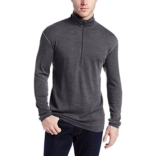 Minus33 Merino Wool Men's Isolation Midweight 1/4 Zip, Charcoal Grey, Medium