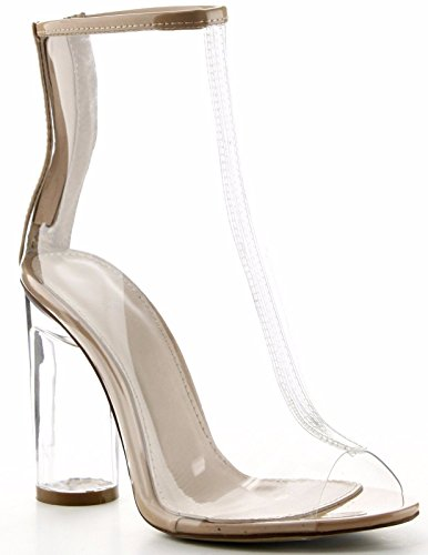 Cape Robbin Benny-1 Open Toe Block Chunky Clear Perspex Heel Ankle Boot Bootie Shoe