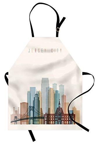 - Ambesonne Jersey City Apron, New Jersey Skyline with Big American Town Buildings with Bridge Urban Print, Unisex Kitchen Bib Apron with Adjustable Neck for Cooking Baking Gardening, Multicolor