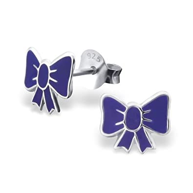 Girls Bow Colorful Ear Studs 925 Sterling Silver