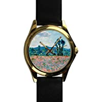 Unique Christmas Gift Poppy Field in Giverny by Claude Monet Unisex -tone Round Leather Metal Watch