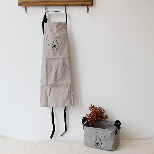 9OVE, Apron, Home Kitchen Tool, Parent-Child Cartoon Cookers Animal Print Cotton Linen - Grey Kid ()