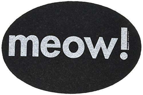 Ore' Pet Oval Meow Recycled Rubber Pet Placemat, Black ()