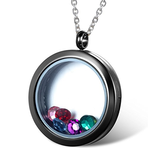 Oidea Womens Living Memory Stainless Steel Round Floating Charm Circle Memory Locket Pendant Necklace, Black