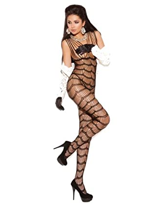6af9540e39f Amazon.com  Elegant Moments Women s Vertical Striped Bodystocking ...