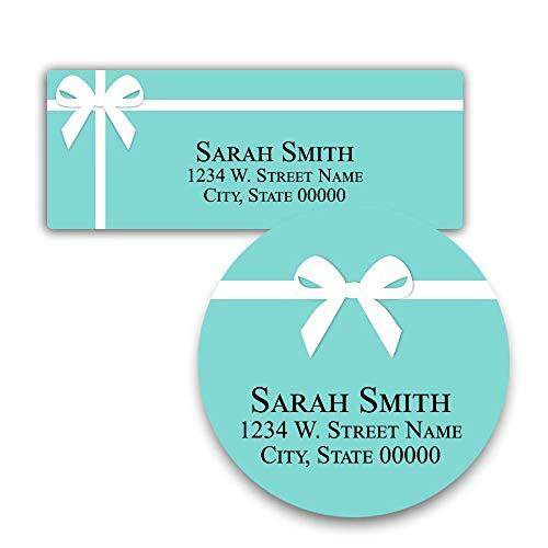 Light Blue with Bow Return Address Label Custom Stickers