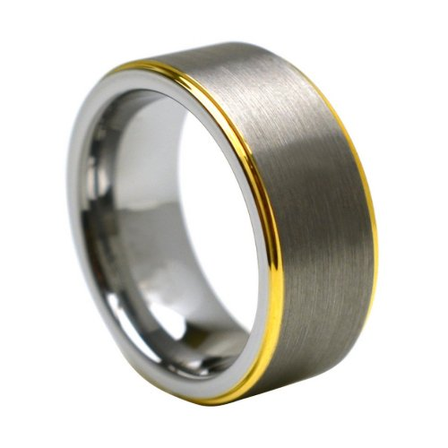 Tungsten Carbide Yellow Gold Plated Edge 8mm Wedding Band Ring, 9.5 Size (Yellow Gold Plated Edge)