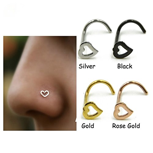 Amknn 3 pcs Heart Nose Studs Piercing Ornament Nose Ring Screw Stainless Steel Curved Nose Nails