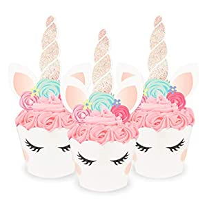 xo, Fetti Unicorn Cupcake Toppers + Wrappers – Set of 24 | Birthday Party Supplies, Unicorn Horn Cake Decoration + Baby Shower