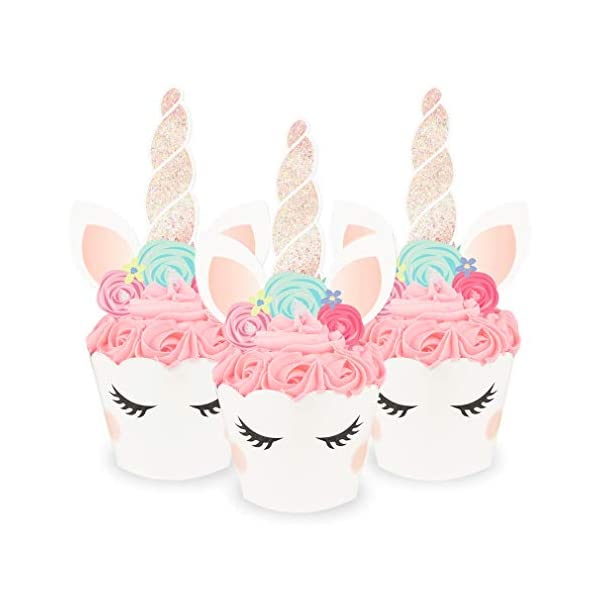 xo, Fetti Unicorn Cupcake Toppers + Wrappers - Set of 24 | Birthday Party Supplies, Unicorn Horn Cake Decoration + Baby… 3
