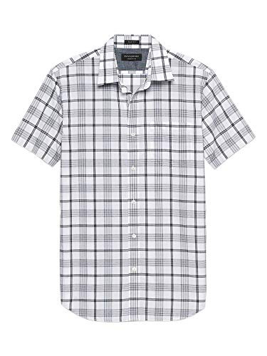 Banana Republic Mens Slim-Fit Soft Wash Short Sleeve Button Down Shirt White Grey Plaid -