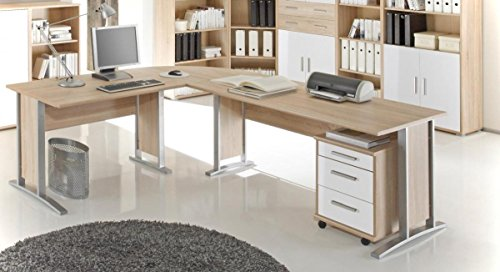 Winkelschreibtisch OFFICE LINE inkl. Rollcontainer Sonoma / Weiß