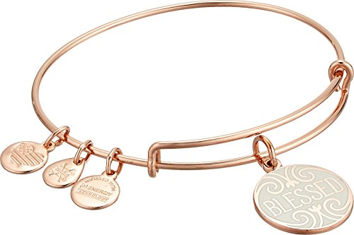 Green Rose Gold Bracelet (Alex and Ani Women's Words are Powerful Blessed Bangle Shiny Rose Gold One Size)