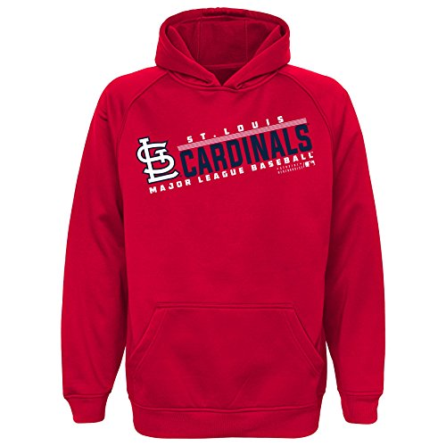 (MLB Youth 8-20 Cardinals performance hood, M(10-12), Athletic Red)