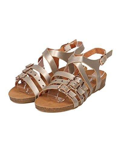 Sandal Open Champagne Women Footbed by Metallic Alrisco Strappy GI57 Sandal Toe Sandal Leatherette Molded Strappy OfOvCwnqd