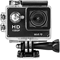 Mini WiFi Portable Action Sports Camera, 2.0 Inch LCD Screen 1080P HD 12Mp Video PC Camera 170° Wide Angle Lens Wireless Waterproof HDMI Output (Black)