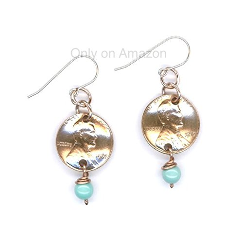 50th Birthday Jewelry Gifts For Women 1967 Penny Earrings December Birthstone Turquoise Beads Coin