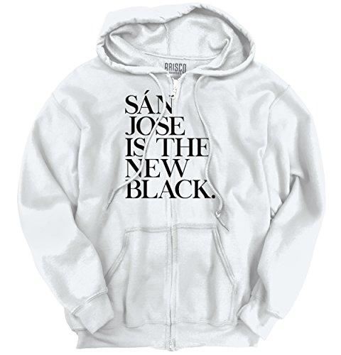 Brisco Brands San Jose, CA Is The New Black Funny Humorous T Shirt Gift Idea Zipper - San Ca Francisco Stockton To Ca