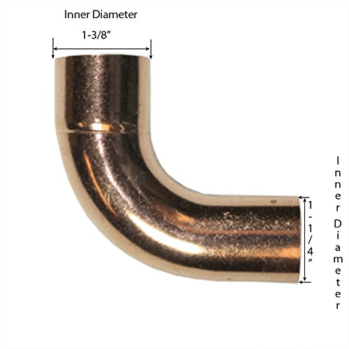 Libra Supply 1-1/4 inch 90-Degree Long Turn Street Copper Elbow, FTG x C, (click in for more size options), 1-1/4'', 1-1/4-inch Copper Pressure Pipe Fitting Plumbing Supply