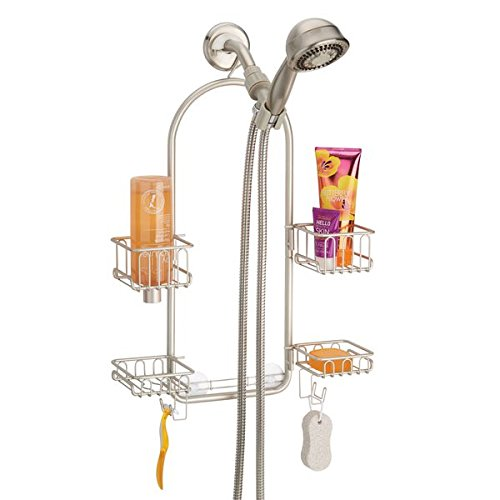 mDesign Bathroom Adjustable Shower Caddy for Tall Shampoo, Conditioner, Soap Bottles - Satin by mDesign