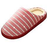 NUWFOR Women Warm Gingham Plush Soft Slippers IndoorsAnti-slip Floor Bedroom Shoes(Pink,6-7.5 M US)