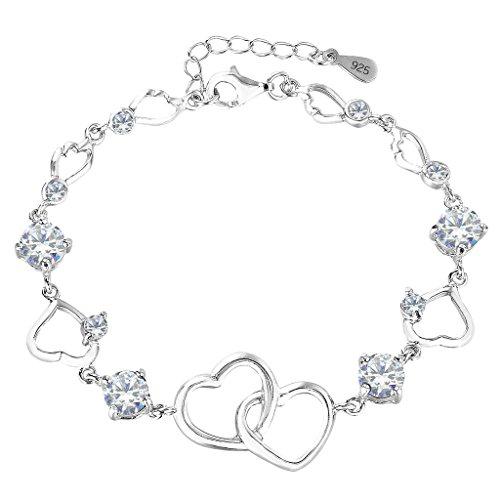 EleQueen 925 Sterling Silver Round CZ Double Love Heart Link Bracelet, 6.5