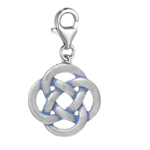 SEXY SPARKLES Celtic Knot Clip On for Bracelet Charm Pendant for European Charm Jewelry with Lobster Clasp
