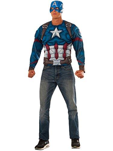 Rubie's Men's Captain America: Civil War Muscle Chest Costume Top, Multi, Extra-Large -
