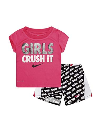 Nike Infant Girls T-Shirt and Shorts Set Black/Hot Pink 18 Months ()
