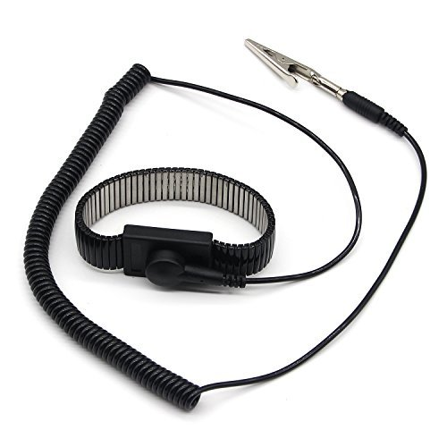 E.Durable ESD Wrist Strap, Metal Anti Static Wrist Band Reusable Antistatic Grounding Components (Mental&Black)