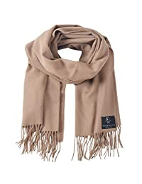 FORBUSITE Lambswool Scarf with Tassels for Cold Winter Camel
