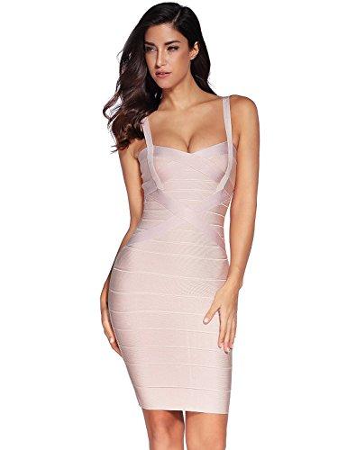 Meilun Women's Celebrity Bandage Bodycon Strap Party Pencil Dress (XL, Beige)