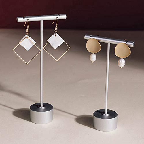 """BanST Metal 2pcs Earring T Bar Stand Retail Display Holders for Show, Jewelry Photography Display Props Organizer【Silver-Round Base 2pcs Height 4.5"""" and 5.3""""】"""