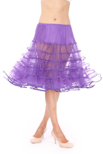 Malco Modes Womens Crinoline Petticoat for 50s Poodle Skirt Costume or vintage dresses. Tulle tutu skirt, adult dance skirt. Plus size petticoat available - Purple - Large (23 inches long)