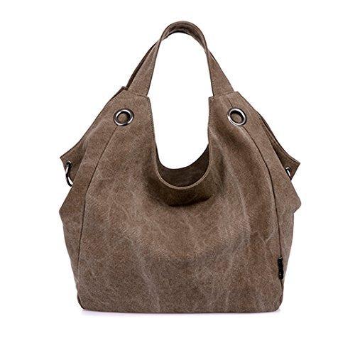 Women's Canvas Purse Durable Tote Handbag Oversized Lined Vintage Style Shoulder Handbag Color Brown