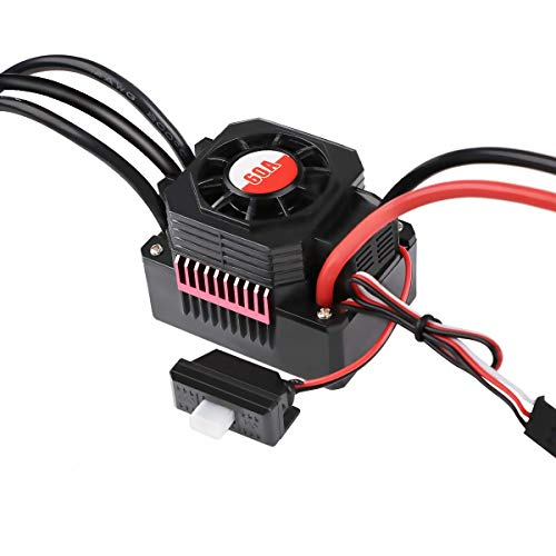 60A Brushless ESC, Waterproof RC Car Electronic Speed Controller for 1/10 RC Car 2S-3S LiPo