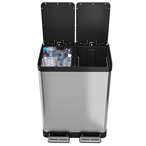 iTouchless SoftStep 16 Gallon Recycle Bin 61 Liter Trash Can with Removable Inner Buckets Perfect for Kitchen, Office, Home, 2 8-Gallon, Stainless Steel