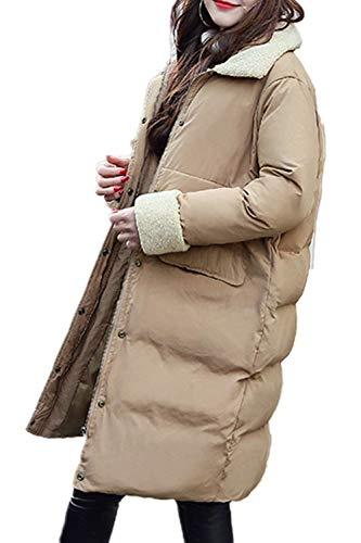 Donna Targogo Qualità Cappotti Khaki Giacca Di Baggy Trapuntata Bavero Single Lunga Alta Invernali Giubotto Tasche Outwear Breasted Anteriori Manica Abbigliamento Colori Solidi qpErp