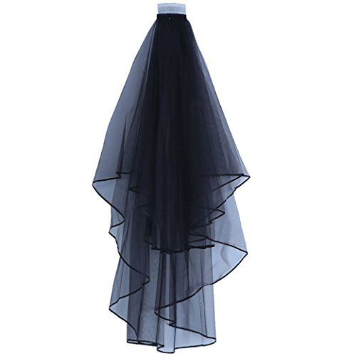 Women's Short Wedding Veils with Comb (Black)