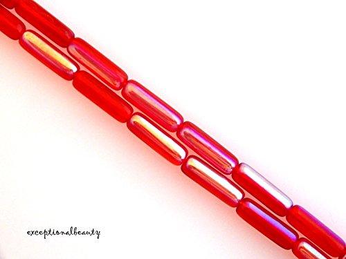 Pendant Jewelry Making 28 Light Red AB Czech Pressed Bohemian Glass 14mm Long Tube Beads
