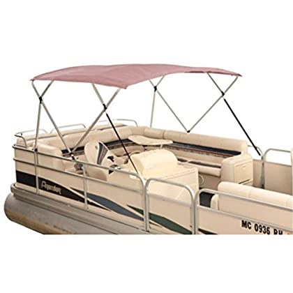 Image of attwood Burgundy Acrylic 369BG Traditional Pontoon Bimini Top Fabric for 1' Tubing-8' x 8'