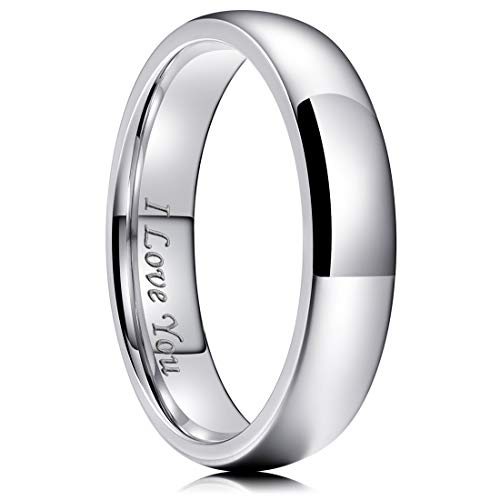 King Will Basic 6mm Stainless Steel Ring Original Color Full High Polished with Laser Etched I Love You 14 ()
