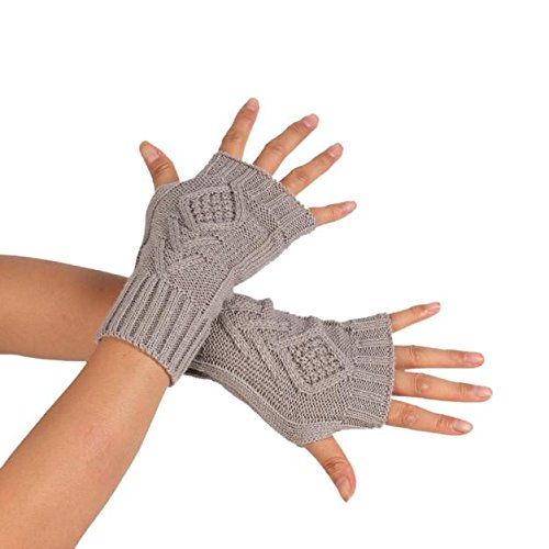 PASATO Knitted Arm Fingerless Winter Gloves Soft Warm Mitten Half Fingerless Thumb Hole Warm Gloves Mittens for Women(Gray,Free Size) -