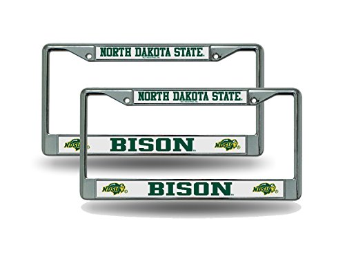 Rico North Dakota State NDSU Bison NCAA Chrome Metal (2) License Plate Frame Set ()