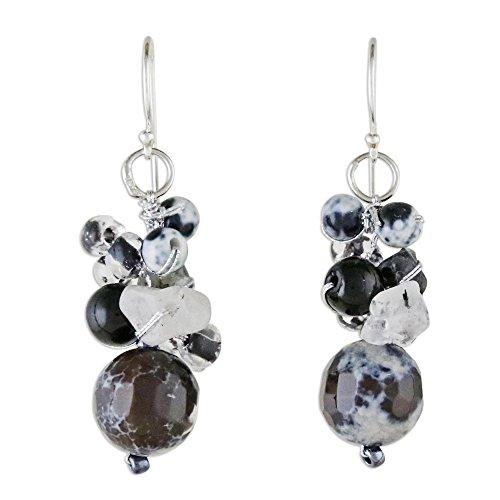 NOVICA Multi-Gem Quartz .925 Sterling Silver Cluster Earrings, Lovely Blend in Black