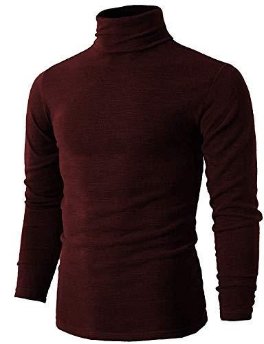 Etero Manica T Lunga Romanstii Uomo Rosso In shirt Slim Cotone Dolcevita Pullover Caldo RfwOxqvF